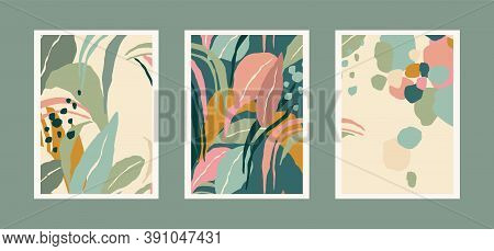 Collection Of Art Prints With Abstract Leaves. Modern Design For Posters, Covers, Cards, Interior De