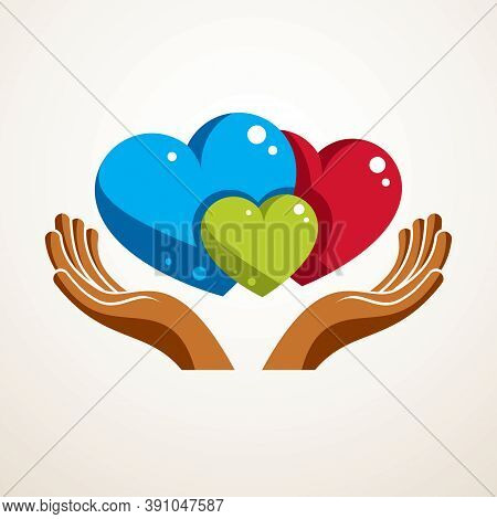 Happy Family Vector Logo Or Icon Created With Three Colorful Hearts Of Different Sizes And Care Hand