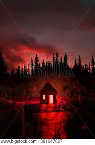 A Man Stands In Front Of A Creepy Glowing Red Abandoned Cabin Isolated In The Niddle Of A Mysterious
