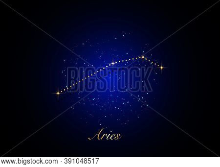 Aries Zodiac Constellations Sign On Beautiful Starry Sky With Galaxy And Space Behind. Gold Aries Ho