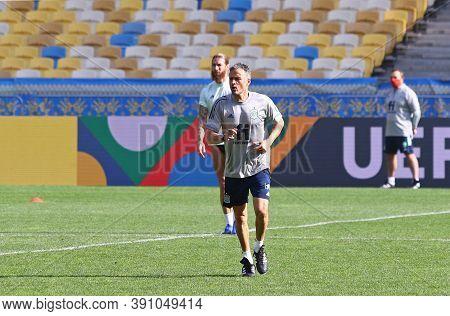 Kyiv, Ukraine - October 13, 2020: Head Coach Luis Enrique Runs During Training Session Of Spain Nati