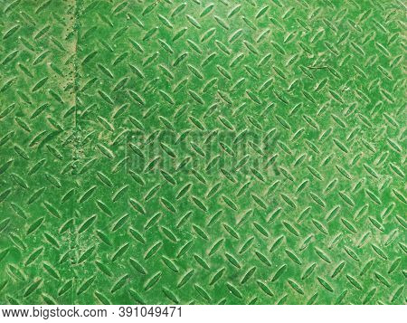 Texture Of Fluted Rusty Iron Metal Plate Background. Corrugated Metal Plate In Green. Steel Or Iron
