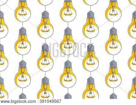Light Bulbs Seamless Background, Creative Ideas Website Concept, Vector  Or Web Site Background.
