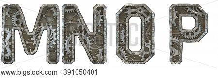 Mechanical alphabet made from rivet metal with gears on white background. Set of letters M, N, O, P. 3D rendering