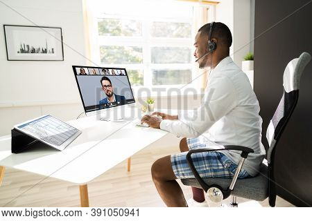 Attending Video Conference Call In Boxer Shorts