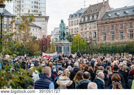 Strasbourg, France - Oct 19, 2020: Elevated View Of Place Kleber To Pay Tribute To History Teacher S