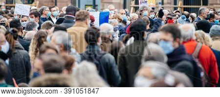Strasbourg, France - Oct 19, 2020: Large Crowd In The Place Kleber To Pay Tribute To History Teacher