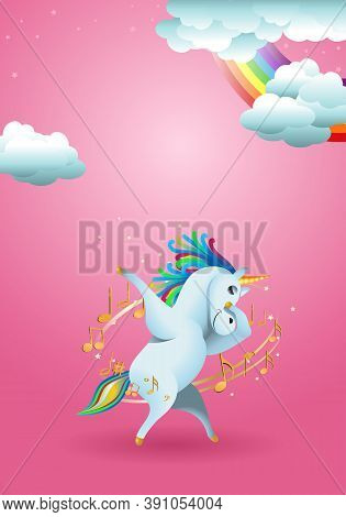 Illustration Of Cute  Unicorn Swag Pose Surrounded By Music Note On Rainbow Fantasy Fairy Tale Backg