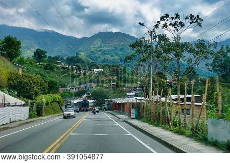 Calarca, Colombia, 01.24.2019, Road And Landscape In The South Of Colombia