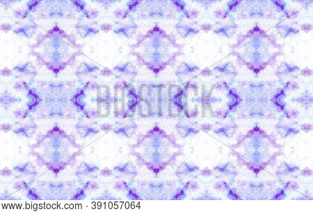 Seamless Native Ethnic Pattern. Purple, Blue And Pink. Handdrawn Aquarelle Illustration. Tribal Back
