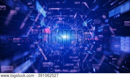 Digital Tunnel Cyberspace And Digital Data Network Connections Concept. Transfer Digital Data Hi-spe