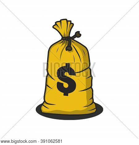 Bag Of Money. Money Bag Icon Vector. Money Bag Sign For Logo. Money Bag With A Dollar Sign. Money Ba
