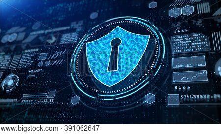 Shield Icon Cyber Security, Hi-tech Digital Display Holographic Information, Digital Cyberspace, Tec
