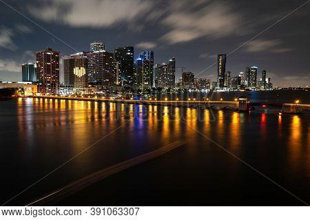 Bayside Miami Downtown Macarthur Causeway From Venetian Causeway. Miami Night