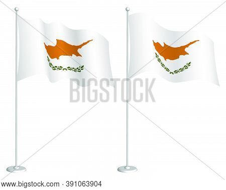Flag Of Republic Of Cyprus On Flagpole Waving In The Wind. Holiday Design Element. Checkpoint For Ma