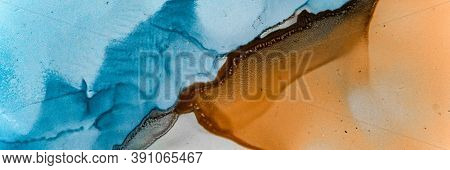 Aqua Abstract Art. Mineral Background. Blue Alcohol Inks Landscape. Sophisticated Flow Paint. Water