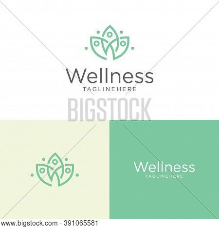 Lotus Wellness Logo Vector Icon . Business Spa Logo Massage Healthy Design Template Concept. Elegant