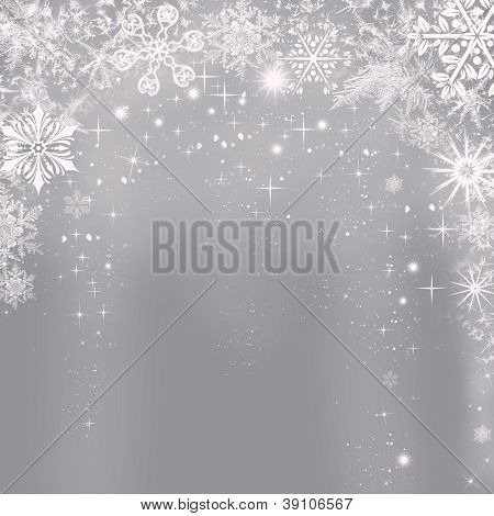 Abstract Silver Christmas Background With Snowflakes