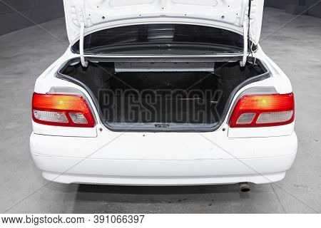 Novosibirsk, Russia - October 16, 2020: Toyota Carina, Rear View Of A Car With An Open Trunk. Exteri