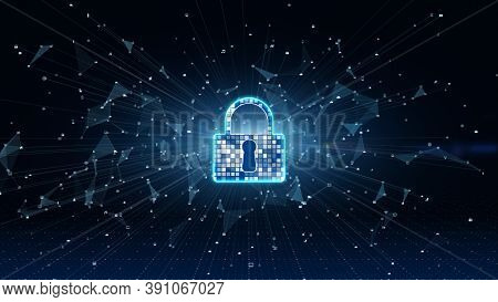 Lock Icon. Cyber Security Of Digital Data Network Protection. High-speed Connection Data Analysis. T