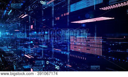 Digital Cyberspace And Data Network Connections. Transfer Digital Data High-speed Internet. Technolo