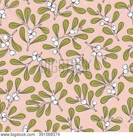 Pastel Hand Drawn Delicate Line Art Christmas Mistletoe Foliage Vector Seamless Pattern On Pink Back