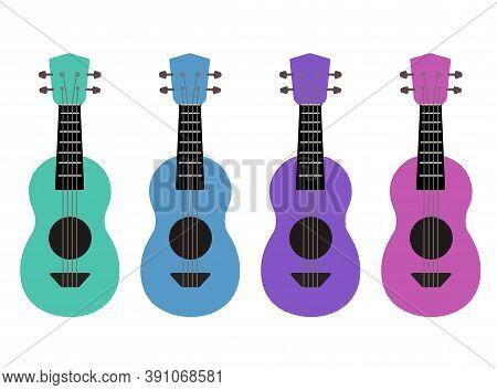 Set Of Flat Multicolor Cartoon Ukulele. Hawaiian Music. Musical String Instrument. Vector Element Fo