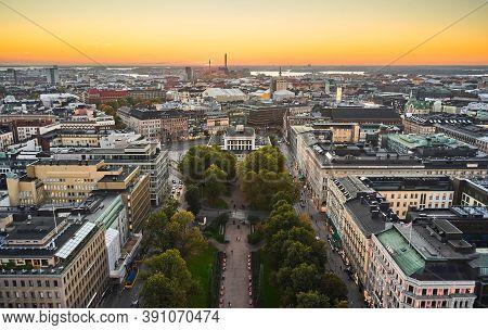 Helsinki, Finland - October 5, 2020: Aerial View Of Esplanade Park In Central Helsinki.