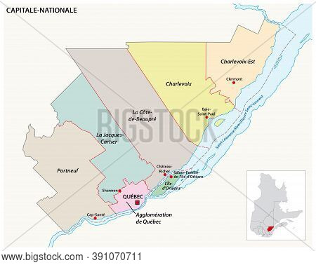 Vector Map Of The Capitale Nationale Quebec Administrative Region, Canada