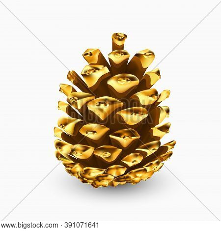 Gold Pine Cone. Gilded Pine Cone. Golden Christmas Decoration. Realistic 3d Object Isolated On White