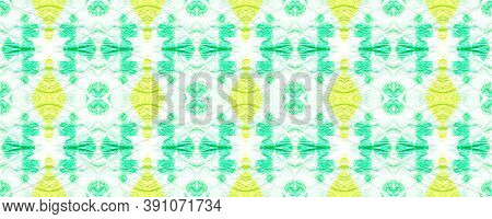Seamless Aquarelle Pattern. Artistic Painted Ornament. Yellow, Green And White. Tie-dye Boho Abstrac