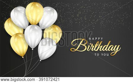 Happy Birthday Celebration On Black Background With 3d Realistic Balloons And Glitter Confetti  For