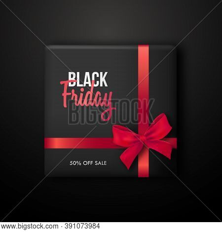Black Gift Box With Red Ribbon For Black Friday Sale. Concept Template For Promo Banners, Flyers, Br