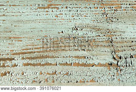 Blue Crack Background. Painted Wood Texture. Crackle Poster. Nature Break Crack Background. Abstract