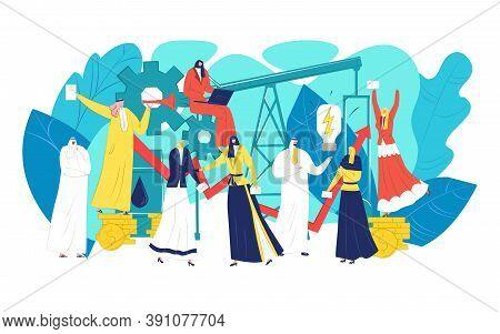 Oil Arab Business Concept, Vector Illustration. Arabic Businessman Woman Character At Flat Saudi, Su