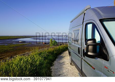 Ares, Aquitaine / France - 16 10 2020 : Fiat Campereve Ducato Vanlife Lifestyle Rv Motorhome In The