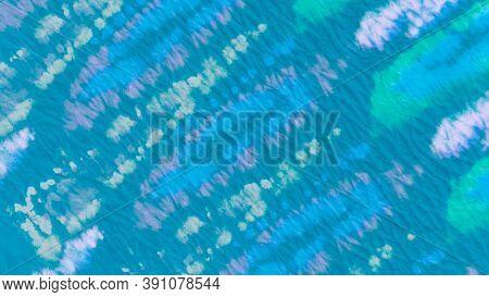 Blue Teal Ikad Chevron. Tie And Dye Shibori. Abstract Paint Aquarel Spots. Dirty Art Print. Ikad Des