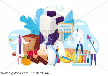 Allergen Food Design Concept, Vector Illustration. Allergy Treatment With Doctor, Medical Help By Me