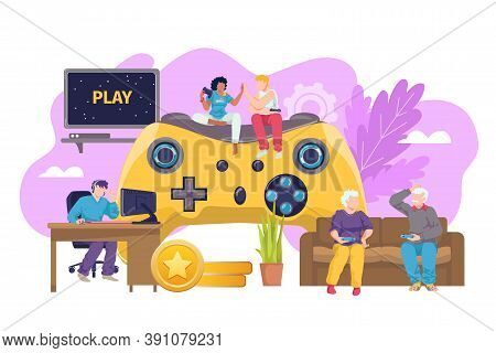 Computer Game Joystick For Everyone Vector Illustration. Console Technology For Gamer Play Backgroun