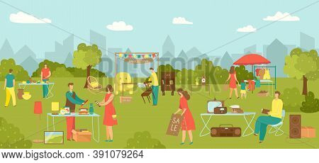Garage Sale, Street Market With Clothes Vector Illustration. Flat Man Woman Character Buy Cartoon Vi