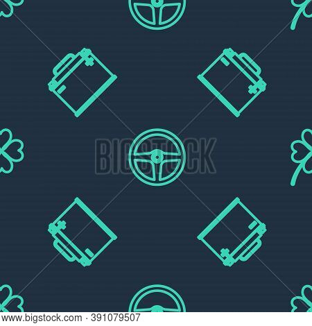 Set Line Steering Wheel, Car Battery And Four Leaf Clover On Seamless Pattern. Vector