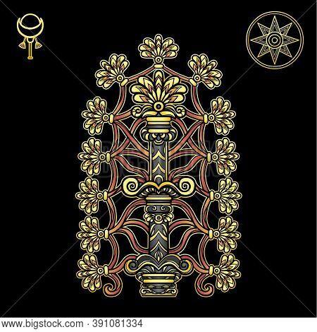 Cartoon Drawing: Ancient Mystical Tree, Sumerian Mythology. Symbol Of Fertility And Abundance. Signs