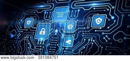 Cyber Security Data Protection Business Technology Privacy Concept. Protect Your Data.3d Illustratio