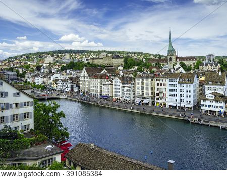 Zurich, Switzerland - May 30, 2020: View Of Zurich Old Town And Limmat River.