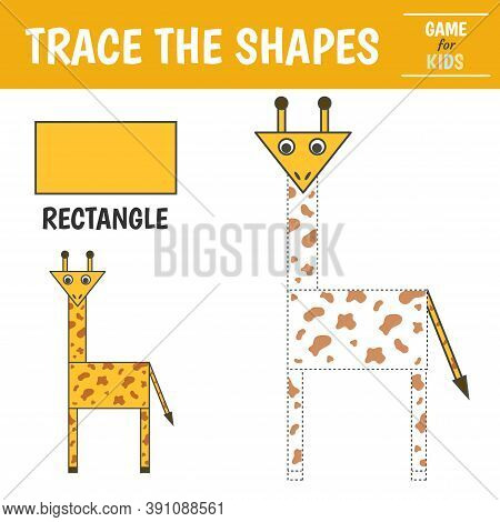 Learn Geometric Shapes - Rectangle. Preschool Worksheet For Practicing Motor Skills. Giraffe Of Geom