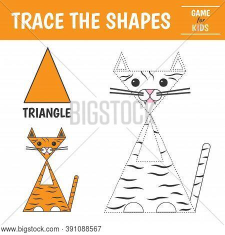 Learn Geometric Shapes - Triangle. Preschool Worksheet For Practicing Motor Skills. Tiger Of Geometr