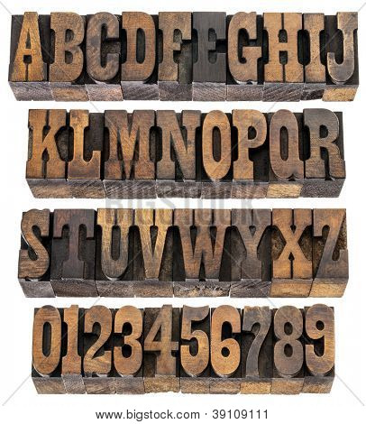 isolated rows of letters and numbers in vintage letterpress wood type blocks, French Clarendon font popular in western movies and memorabilia poster