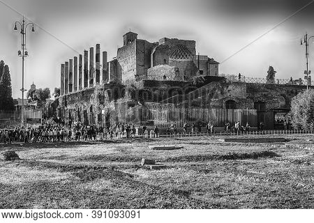 Rome - March 31: Ruins At The Temple Of Venus In Roman Forum, Rome, Italy, March 31, 2019