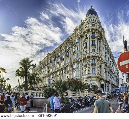 Cannes, France - August 15: The Intercontinental Carlton Hotel In Cannes, Cote D'azur, France, As Se