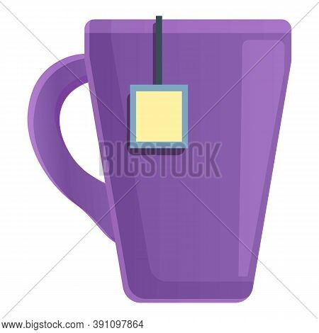 Violet Tea Mug Icon. Cartoon Of Violet Tea Mug Vector Icon For Web Design Isolated On White Backgrou